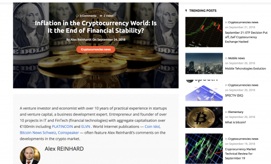ALEX REINHARDT: Inflation in the cryptocurrency world – an end to financial stability?