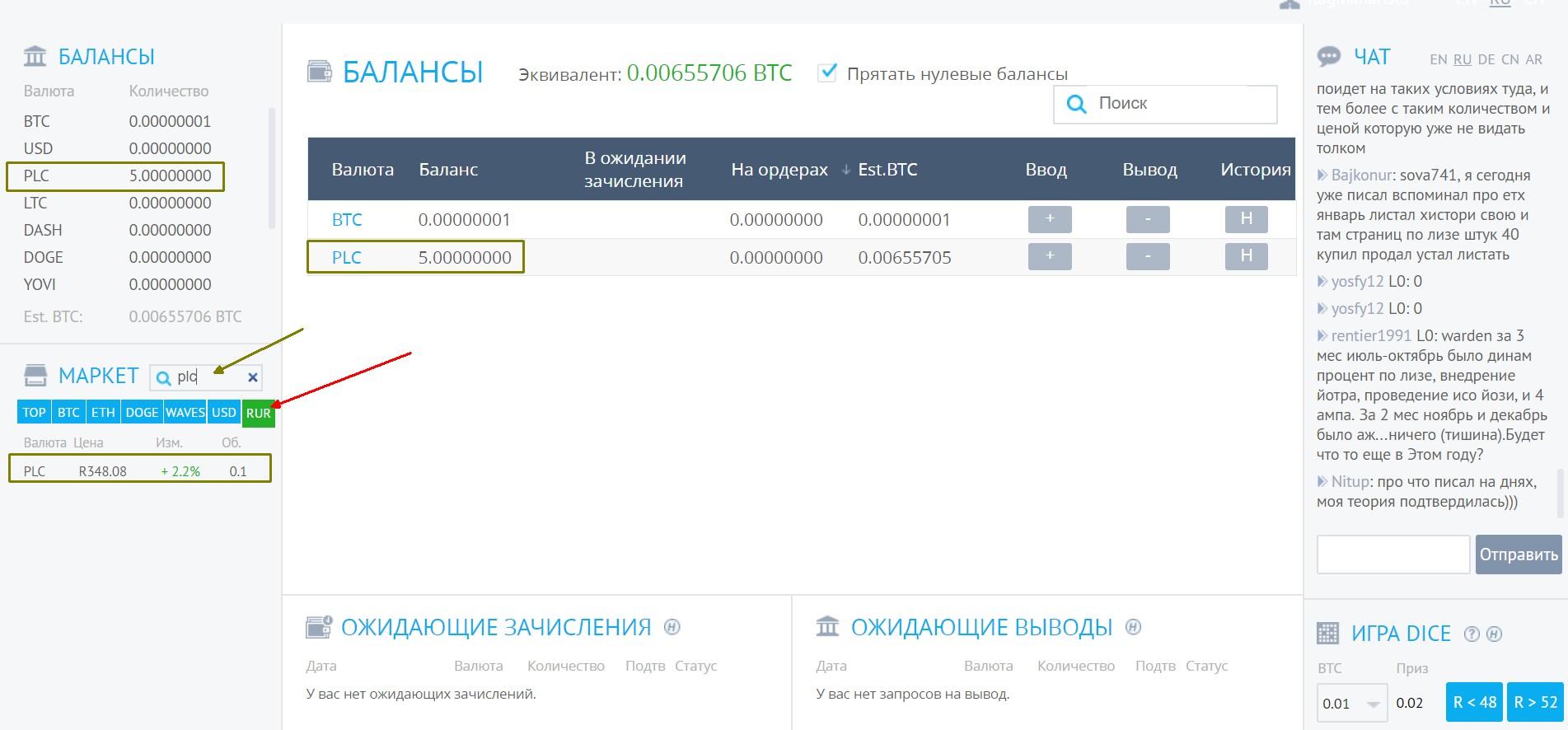 Как продать PLC на бирже за рубли