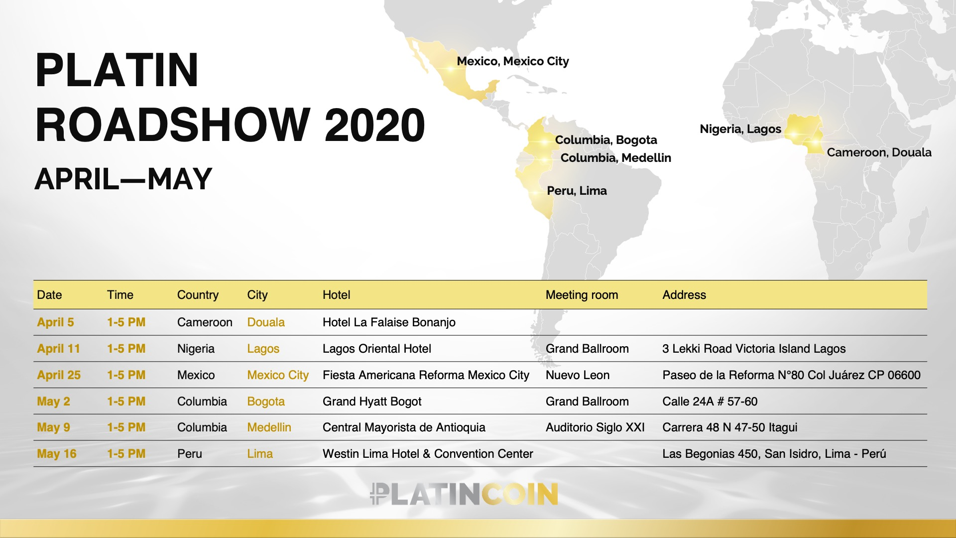 PLATINCOIN in Latin America and Africa: continuing our global expansion